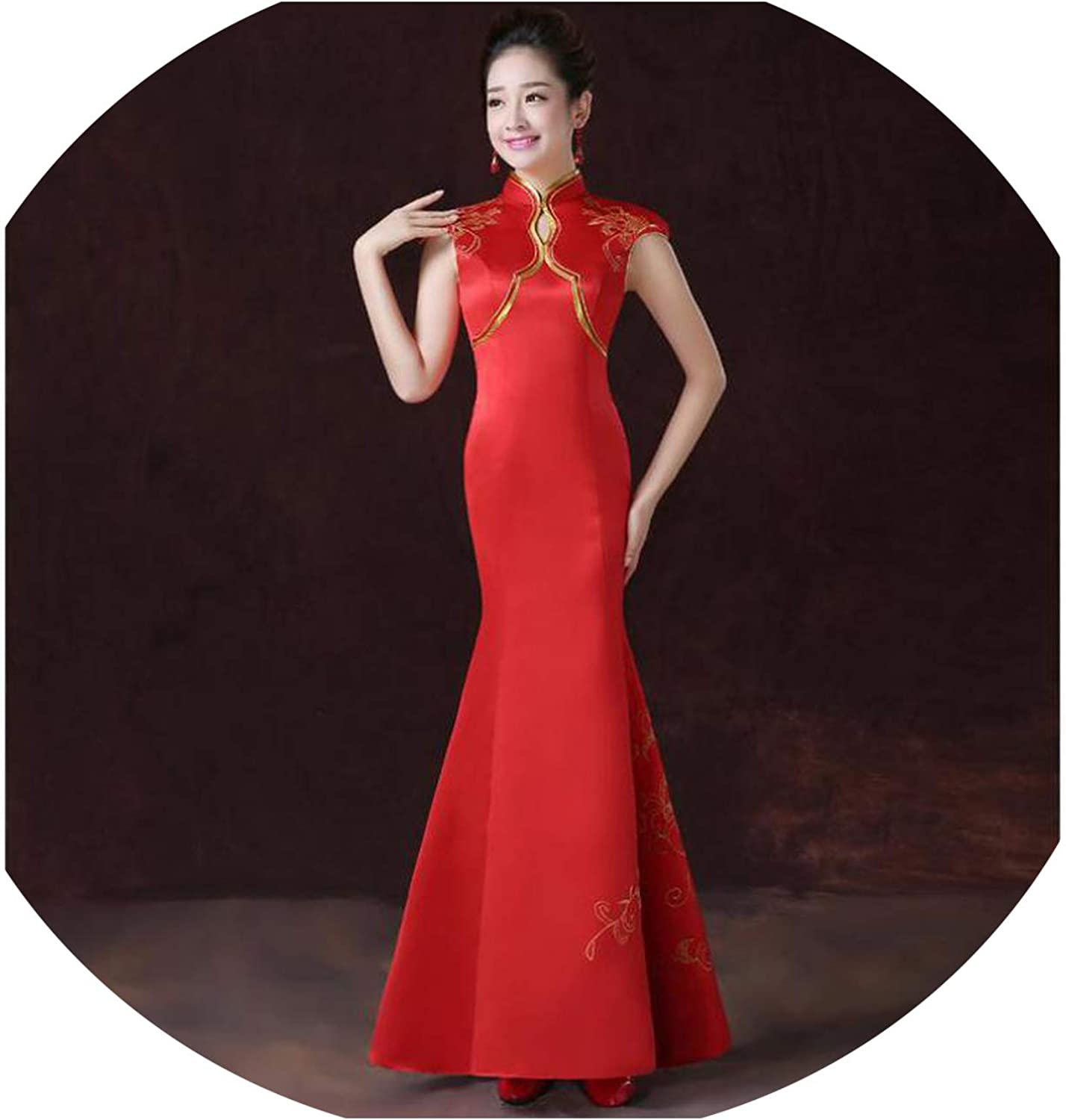 Women Flower Qipao Oriental Improved Cheongsam Bride Printed Satin Wedding Party Dress Vestidos XSXXL