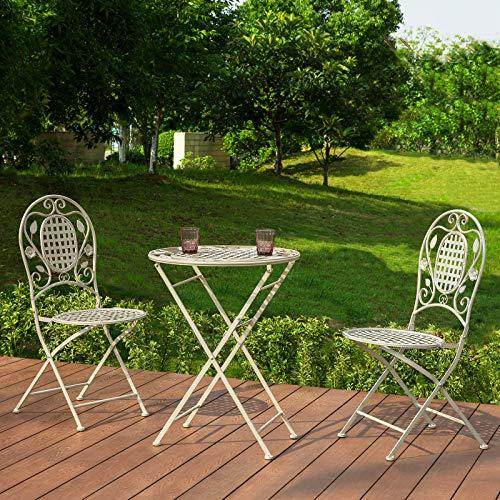 SoBuy Tavolo da Giardino con sedie Set Tavolino Pieghevole da Balcone con 2 sedie Pieghevoli Rotondo Stile Vintage Bianco (OGT35-W)