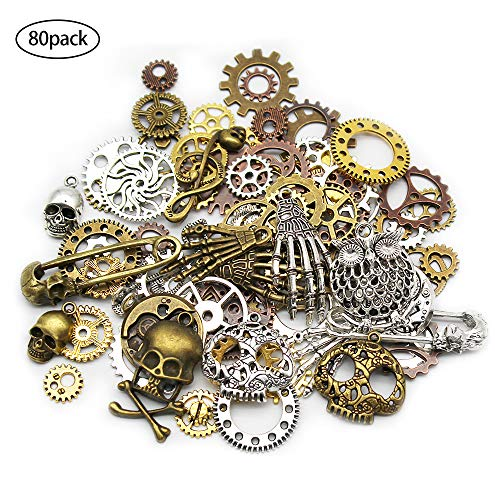 Material: Alloy, Lead free, Color: Bronze, Gold, Silver, Size: 14mm-50mm Quantity: 80 pieces, there are many different shapes (Gear, Skull, Musical note, Skull hand, Safety pin, owl) Perfect for scrapbooking project, necklace pendant drop, jewelry ma...