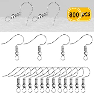 Newbested 800 PCS Fish Hook Earrings (Silver)