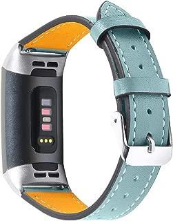 Fitbit Charge 3 /Charge 3 SE バンド/ベルト 交換 本革製 スマートウォッチ バンドファション スポーツ男性 女性 おしゃれ (スモーキーブルー)