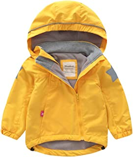 VILLAY Toddler Kid Baby Boy Long-Sleeved Solid Color Plus Velvet Hooded Windproof rain Jacket