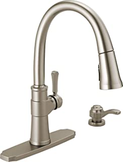 Delta Faucet Spargo Single-Handle Kitchen Sink Faucet with Pull Down Sprayer, ShieldSpray Technology and Magnetic Docking Spray Head, SpotShield Stainless 19964Z-SPSD-DST