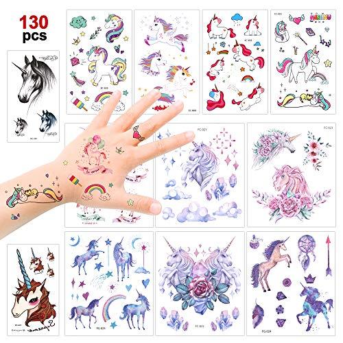 Konsait Einhorn Temporäre Tattoos für Kinder Mädchen, 130 farbenfrohe Einhorn Kinder Tattoos Sticker mit Glitzereffekt (12 Blatt), Mädchen Kindergeburtstag Mitgebs Einhorn Party