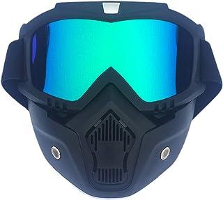 ROSEBEAR Motorrad /Motocross Gesichtsmaske, Schutzbrille für Off Road MX, ATV, Dirt Bike, Brille mit schwarzem Rahmen und gelber Folie