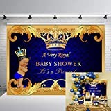 GYA Royal Prince Baby Shower Backdrop Black Boy Gold Crown Photography Background 7x5ft Party Supplies