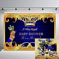GYA Royal Prince ベビーシャワー バックドロップ ブラック 男の子 ゴールド クラウン 写真背景 7x5フィート パーティー用品
