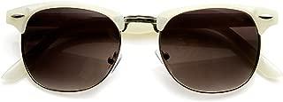 Pastel Color Semi-Rimless Half Frame Horn Rimmed Sunglasses (White)