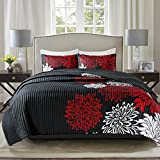 Comfort Spaces Enya Quilt Set-Casual Floral Print Channel Stitching Design All Season, Lightweight Coverlet, Cozy Bedding, Matching Shams, Decorative Pillows, King(104'x90'), Red/Black 3 Piece