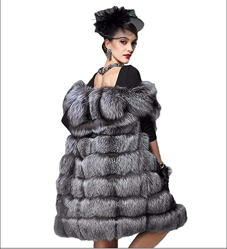 魅惑的なシャベル赤ちゃん女性のフェイクファーベストベストフェイクファーウォーム暖かいふわふわの高級アウターウェア秋ファッションスタイルロングスリーブステッチGilet,M