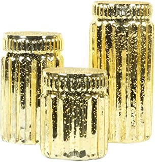 Koyal Wholesale Ribbed Mercury Glass Vases, Bulk Set of 3, Mercury Vases for Flower Centerpieces, Centerpiece Jars for Can...