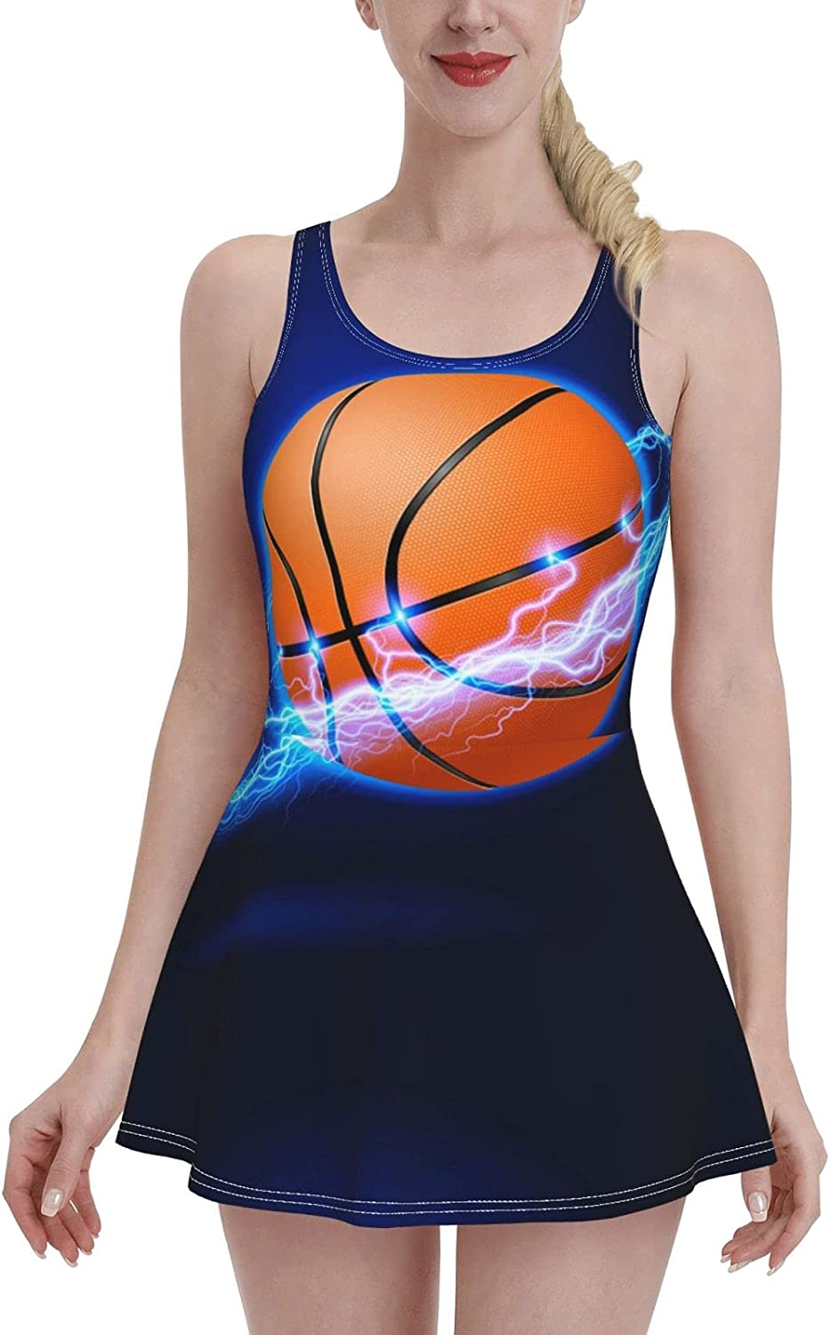 Sports Ball Basketball in Blue Fire Circle Swimdress Swimsuits for Women Tummy Cont