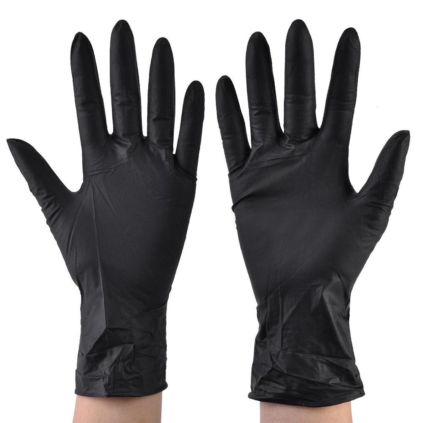 文助けて親100pcs使い捨てニトリル手袋医療グレードラテックスフリーパウダーフリーブラックラージミディアムスモールインダストリアル、医療、美容、健康(L)