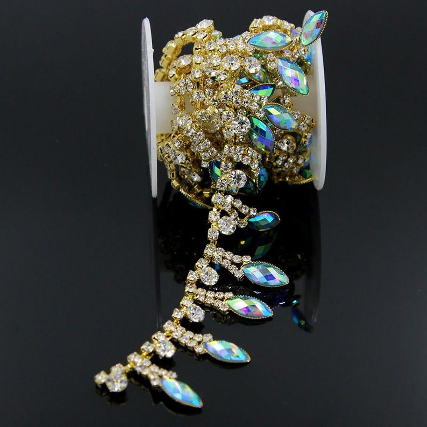 De.De. 1 Yard AB Resin Crystal Clear Glass Rhinestone Bridal Trim Fashion Chain Blue