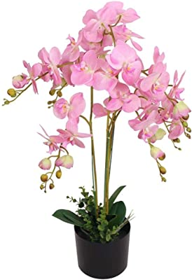 Clever Market Artificial Plant Orchid Pink Tree Stand Fake Green Leaves Livingroom Bedroom Indoor Durable Plants