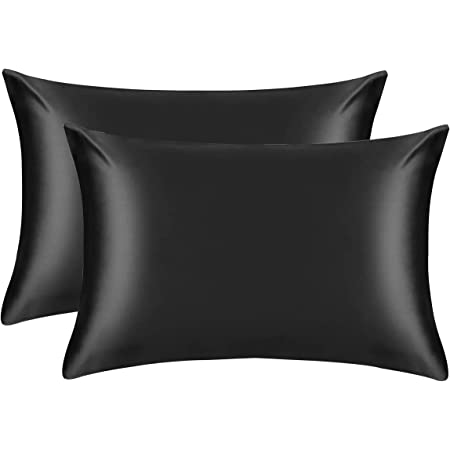 Silk Pillow Cases for Women Satin Pillowcase for hair and Skin Cool Touch Pillow Case 2 Pack with Envelope Closure - Standard Size(50 x 75cm)