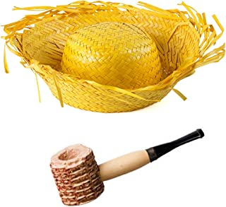 Funny Party Hats Beachcomber Hat - 2 Pc Set - Farmer Hat and Corn Pipe - Birds Nest Hat - Straw Costume Hat for Adults