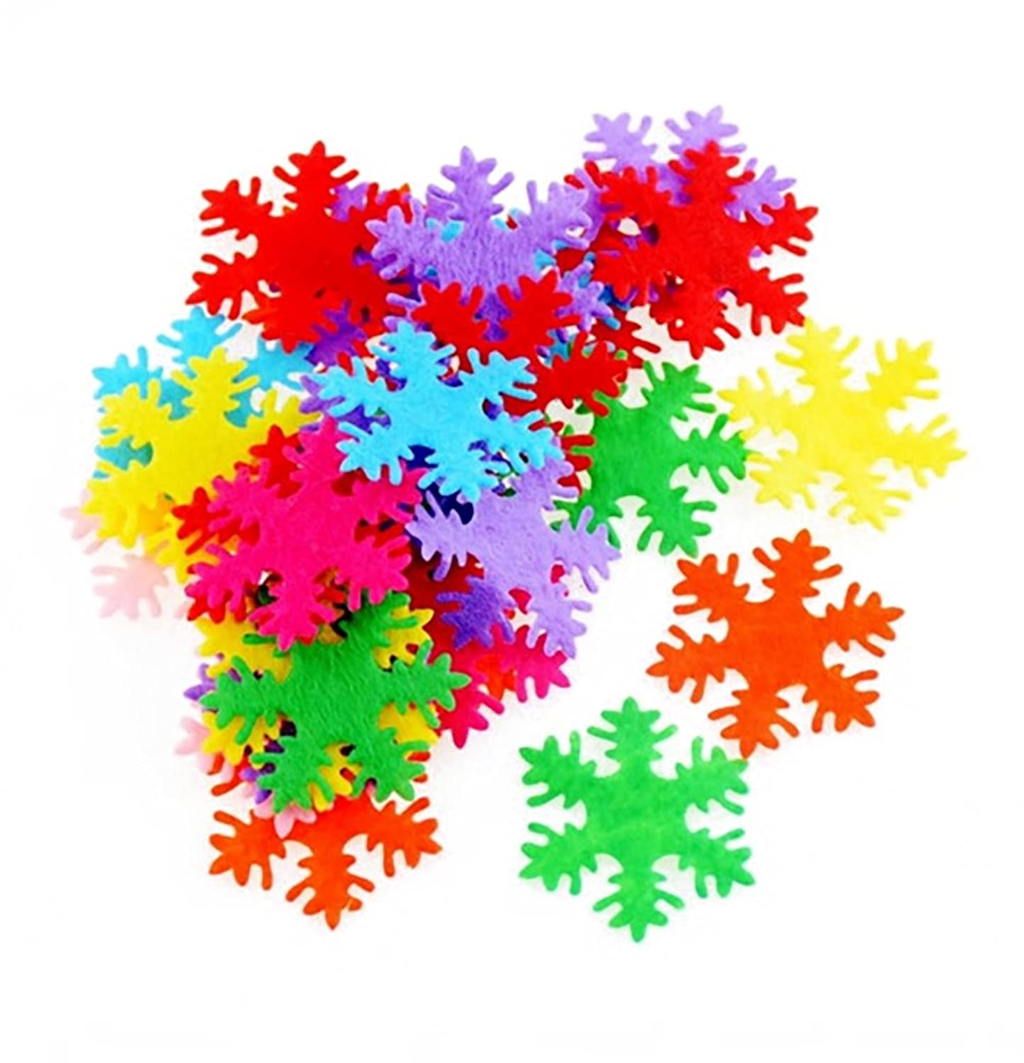 200PCS Assorted Shape Multicolor Fabric Embellishments Felt Pads Appliques for DIY Craft Decoration and Sewing Handcraft (Snowflake shape)