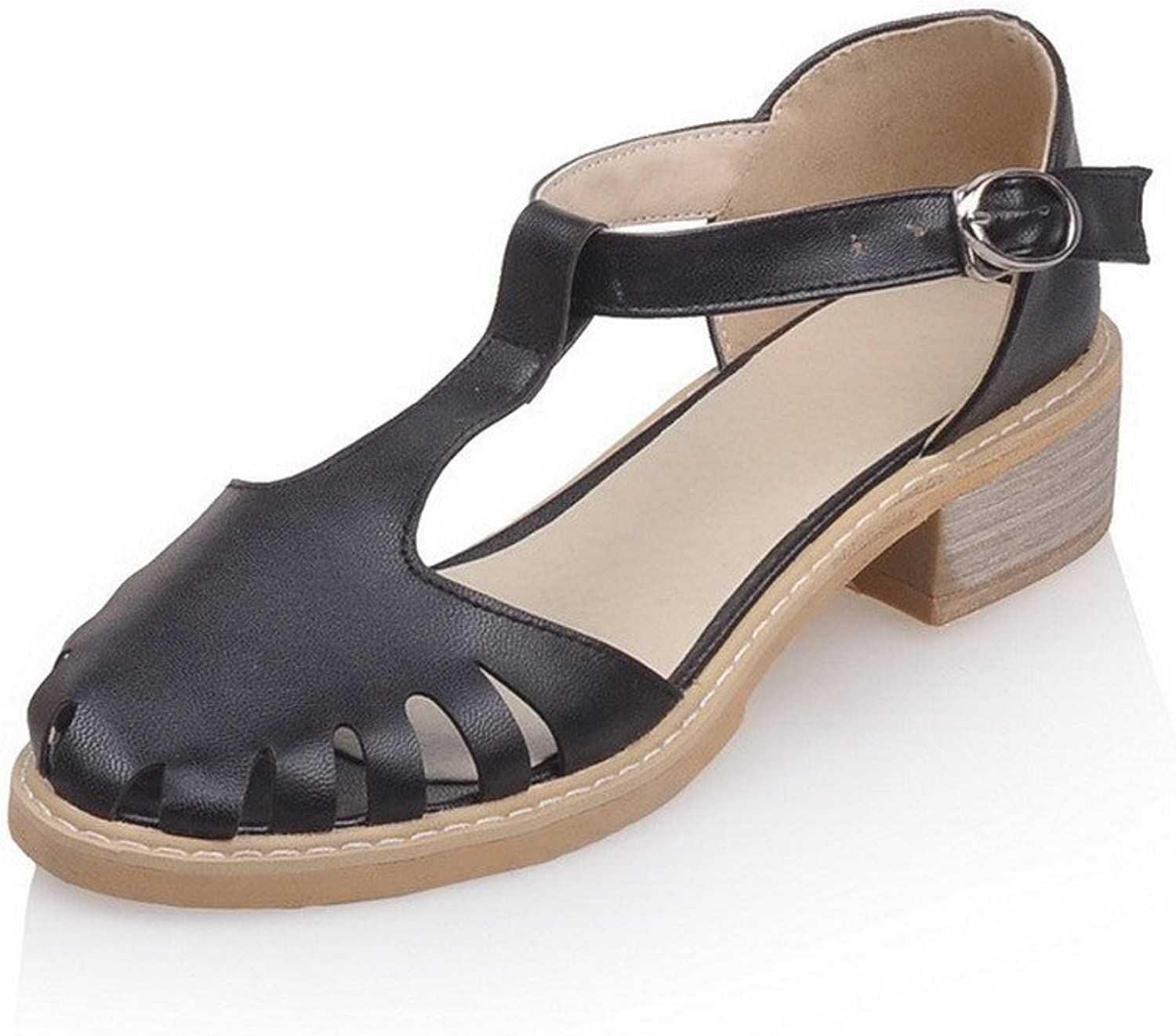 AmoonyFashion Women's Low-Heels Solid Buckle Soft Material Round-Toe Sandals