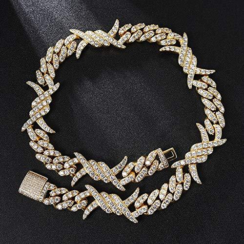 19mm Iced out Heavy Rock Thorns Box Buckle Link Cadenas cúbicas Collares para Hombres Joyería Collar de Oro de 16 Pulgadas