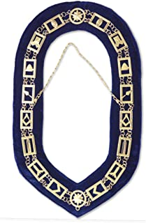 Blue Lodge Working Tools Masonic Chain Collar with Blue Velvet