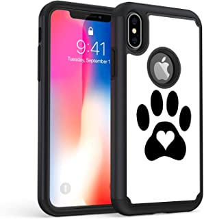 iPhone Xs Max Case, Rossy Shockproof Heavy Duty Hybrid TPU Plastic Dual Layer Armor Defender Protection Case Cover for Apple iPhone Xs Max 6.5 Inch 2018,Dog Cat Heart Paw Prints