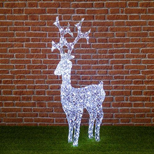 XMASKING Renna con Cristalli, 250 LED Bianco Freddo, H120 cm, Renne Luminose per Esterno, Decorazioni di Natale, luci Natalizie, Figure Luminose