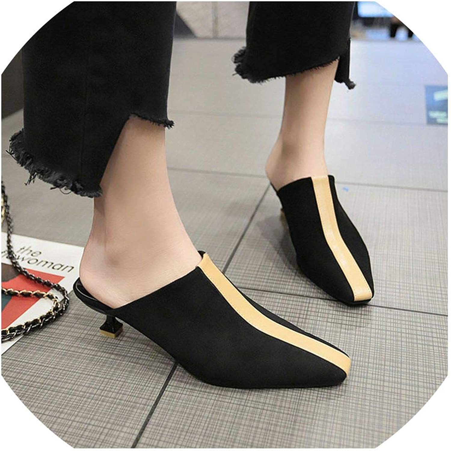 YOU LOOK PRETTY Casual Pointed Toe Half Mules Slippers Med Stilettos Heels Loafers shoes