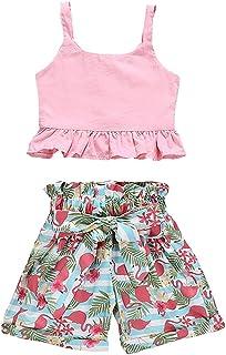 Divilon Toddler Baby Girls Summer Outfits Vest Top Shirts +Floral High Waist Shorts Clothes Sets