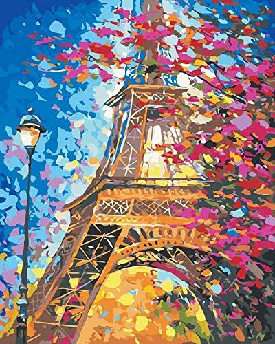 WJGJ Malowanie według numerów zestawy dla dorosłych, DIY zestaw do malowania olejnego na płótnie dla dzieci lub początkujących ze szczotkami akrylowymi pigment rysunek farba 40 x 50 cm (Wieża Eiffla)