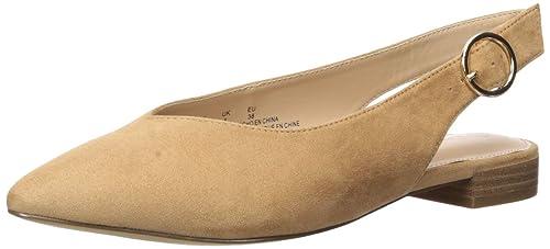 The Drop Tara flache Slingback-Schuhe mit spitzer Zehenpartie, Braun, 38.5 EU