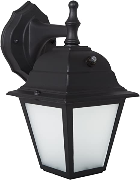 Maxxima LED Porch Lantern Outdoor Wall Light Black W Frosted Glass Photocell Sensor 700 Lumens Dusk To Dawn Light Sensor 3000K Warm White