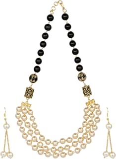 Efulgenz Indian Bollywood Multi Layered Faux Pearl Beads Bridal Strand Necklace Earrings Wedding Jewelry Set (Color Options)