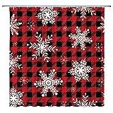 Schneeflocken-Duschvorhang, rotes schwarzes Büffel-kariertes weißes Schneeflocken-Motiv, rustikaler Vintage-Stil, Wintersaison, Weihnachtsstoff, Badezimmer-Dekor-Set mit 12 Haken, 180 x 180 cm
