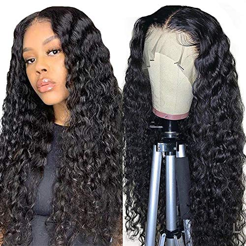 Pelucas mujer pelo natural rizado middle part peluca lace front wig human hair ondas pelo regalos mujer 24inch(60cm)