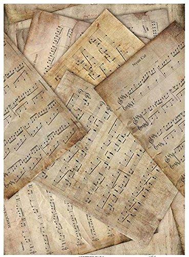 Zita's Creative Reispapier A4 - Noten 2. Motiv-Strohseide, Strohseidenpapier, Decoupage Papier