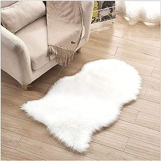 Faux Fur Sheepskin Rug 2.1ft x 3.3ft Faux Fleece Fluffy Area Rugs Carpet for Living Room Bedroom Sofa (White)