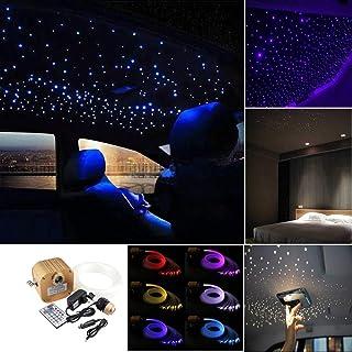 Huaxi 16W RGBW Twinkle Fiber Optic Lights Car Home Star Ceiling Light Kit, RGBW LED Light Engine + Optical Fiber Cable 335pcs 13.1ft/4m (0.75+1.0+1.5mm) + 28key Remote + Crystal