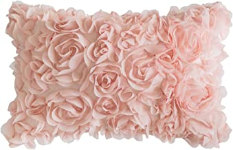 MIULEE 3D Decorative Romantic Stereo Chiffon Rose Flower Pillow Cover Solid Square Pillowcase for Sofa Bedroom Car, Polyes...