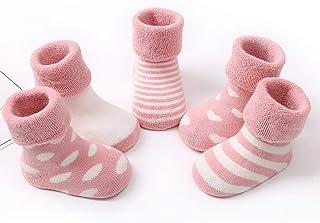 Wazi, Wazi No Hay niño Calcetines escotados, Terry Zapatillas for Bebés y Niños Niño Niña, 5 Pares (Color : Mix 04, tamaño : 0-12 Months)