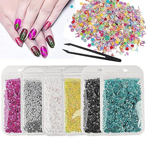 65g Holographic Chunky Glitter Star Shape and Mixed Shapes Flakes Sparkles Iridescent Sequins Craft Glitter with Tweezers for Resin Resin Crafts Supplies Nail Decorations