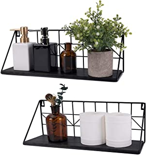 TIMEYARD Floating Shelves Wall Mounted Set of 2 Black Rustic Arrow Design Wood Storage..