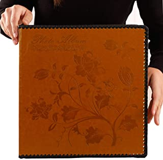 Totocan Photo Album Self Adhesive, Huge Magnetic Self-Stick Page Picture Album with Leather Vintage Inspired Cover, Hand Made DIY Albums Holds 3X5, 4X6, 5X7, 6X8, 8X10 Photos (Brown 40 Pages)