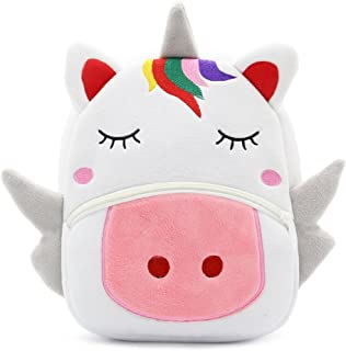 White Dolphin Cute Toddler Backpack,Cartoon Cute Animal Plush Backpack Toddler Mini School Bag for Kids Age 1-3 Years Old