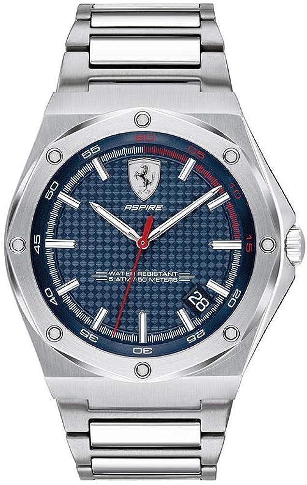 Scuderia Ferrari Reloj Analógico para Hombre de Cuarzo con Correa en Acero Inoxidable 830530