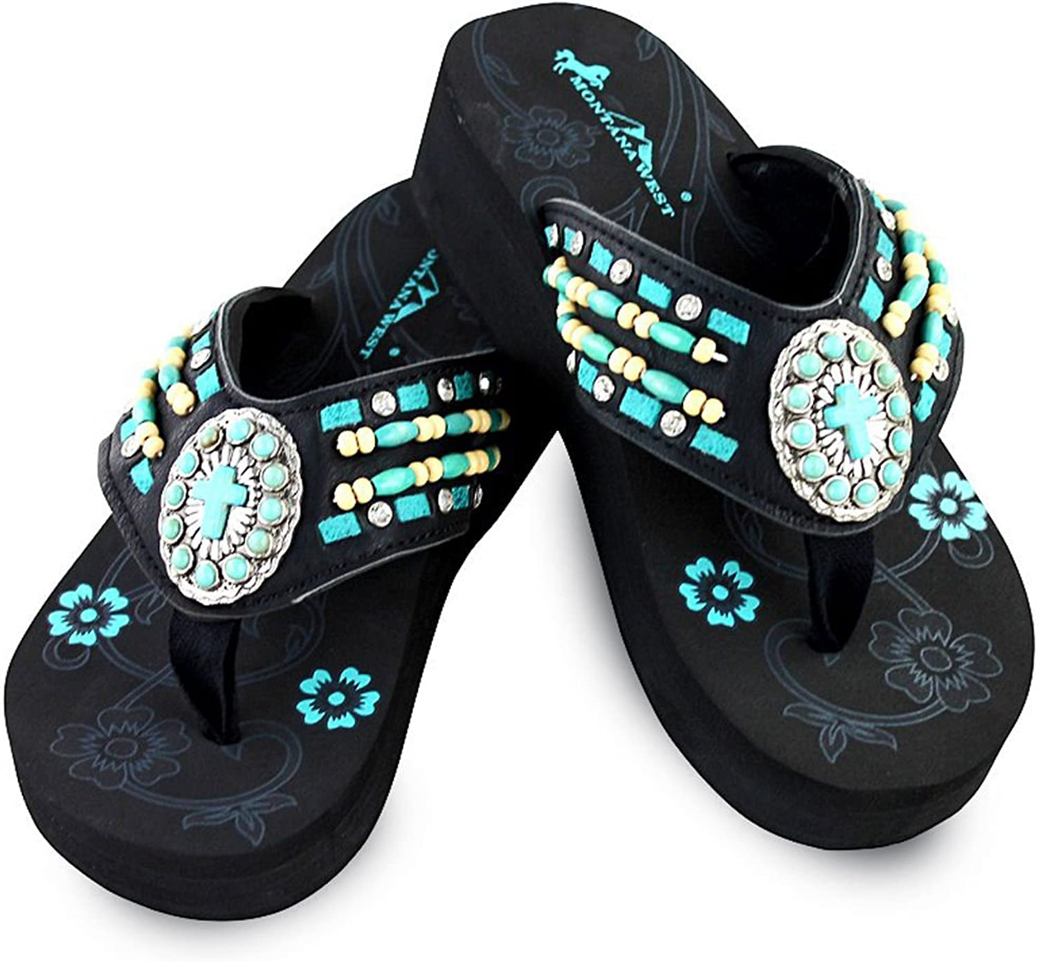 Montana West Beaded TQ Cross Wedge Flips Flops, Black TQSizes 6-11