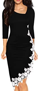 Drimmaks Women's Black Pencil Dress 3/4 Sleeve Stretchy Irregular Hem with White Lace Bodycon Dresses