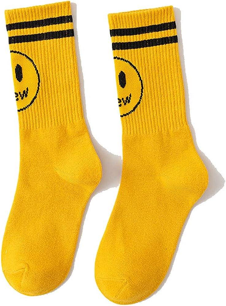 Unisex Adult 2 Pairs of Socks Drew House Socks Bieber Smiley Face Fashion Couples Crew Socks Hip Hop Socks