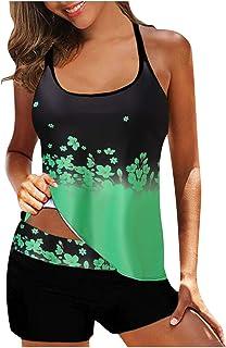 YHAIOGS Bikini High Waisted Women Plus Size Print Strappy Back Tankini Set Two Piece Swimsuits Swimdress