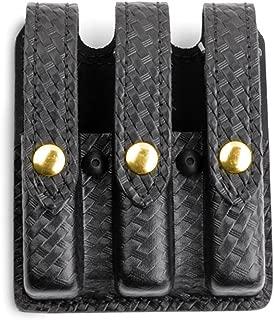 Safariland Duty Gear Glock 17, 22, 34, 35 Flat Top Slimline Triple Magazine Pouch (Basketweave Black, Brass Snap)